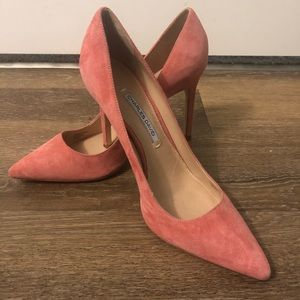 Salmon Pink Suede Charles Davis Heels - Size 9